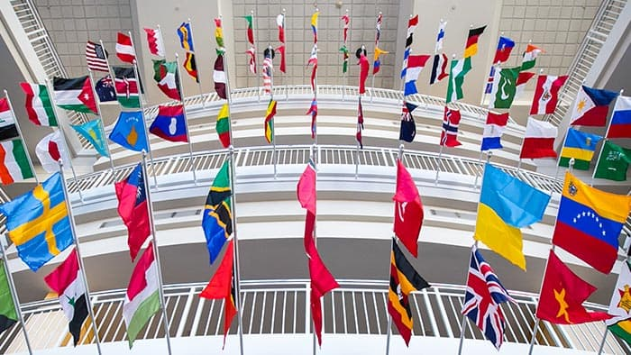 Country flags on display in the Strong Hall atrium